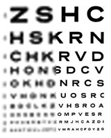 Eye chart imaged with different resolutions