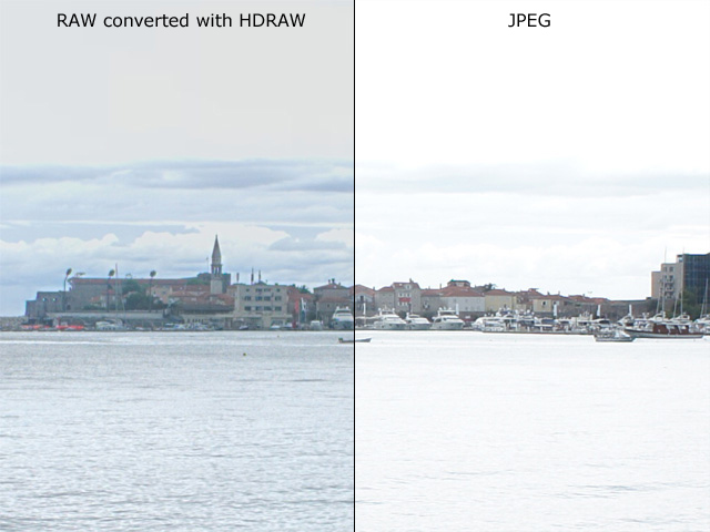 Tone Mapped RAW versus JPEG: JPEG has less details due to squeezing and cutting of dynamic range