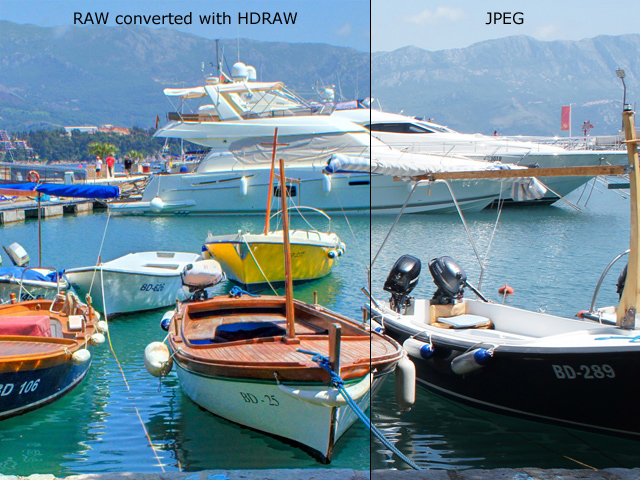 RAW converted with HDRAW versus JPEG: JPEG has less vivid colors and less details visible