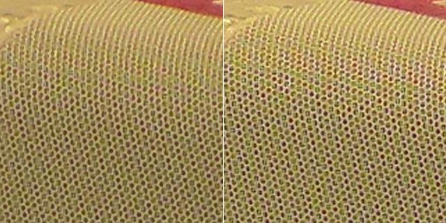 Left: Panasonic Intelligent Resolution, right: generic zoom + bicubic upsize + unsharp mask