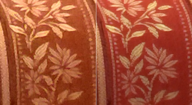 Left: standard image taken with Nokia Lumia 1520; Right: Super Resolution image. Fine details became visible.